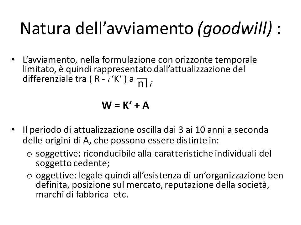 Natura dellavviamento (goodwill) : Lavviamento, nella formulazione con orizzonte temporale limitato, è quindi rappresentato dallattualizzazione del di