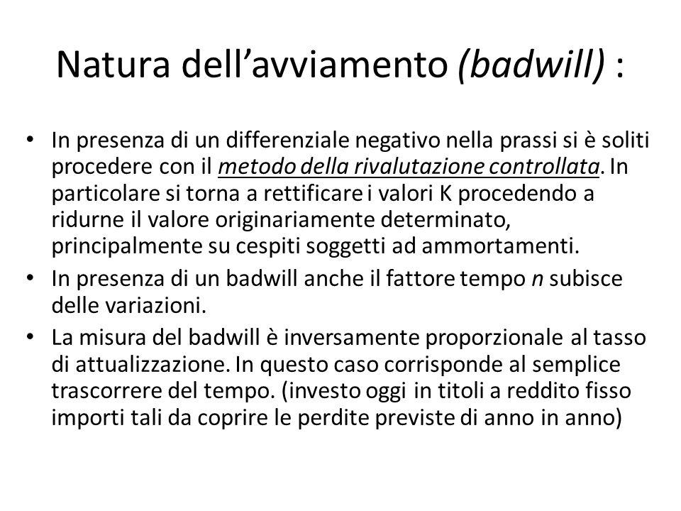 Natura dellavviamento (badwill) : In presenza di un differenziale negativo nella prassi si è soliti procedere con il metodo della rivalutazione contro