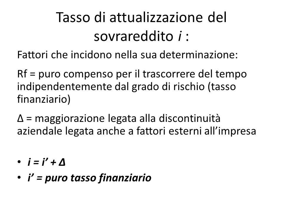 Tasso di attualizzazione del sovrareddito i : Fattori che incidono nella sua determinazione: Rf = puro compenso per il trascorrere del tempo indipende