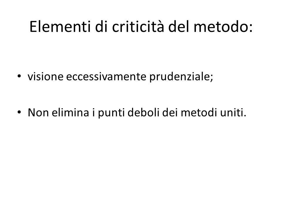 Elementi di criticità del metodo: visione eccessivamente prudenziale; Non elimina i punti deboli dei metodi uniti.