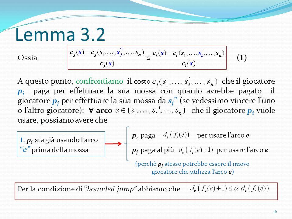 Lemma 3.2 Ossia A questo punto, confrontiamo il costo che il giocatore p i paga per effettuare la sua mossa con quanto avrebbe pagato il giocatore p j