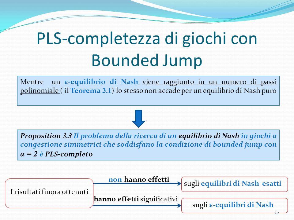 PLS-completezza di giochi con Bounded Jump Proposition 3.3 Il problema della ricerca di un equilibrio di Nash in giochi a congestione simmetrici che s