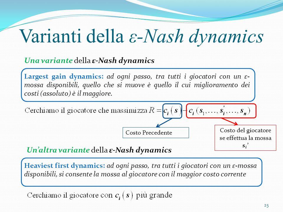 Varianti della ε-Nash dynamics Largest gain dynamics: ad ogni passo, tra tutti i giocatori con un ε- mossa disponibili, quello che si muove è quello i