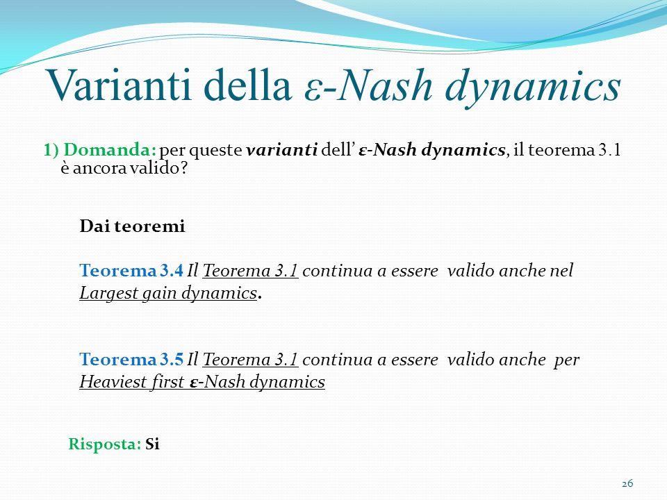 1) Domanda: per queste varianti dell ε-Nash dynamics, il teorema 3.1 è ancora valido? Varianti della ε-Nash dynamics Dai teoremi Teorema 3.4 Il Teorem