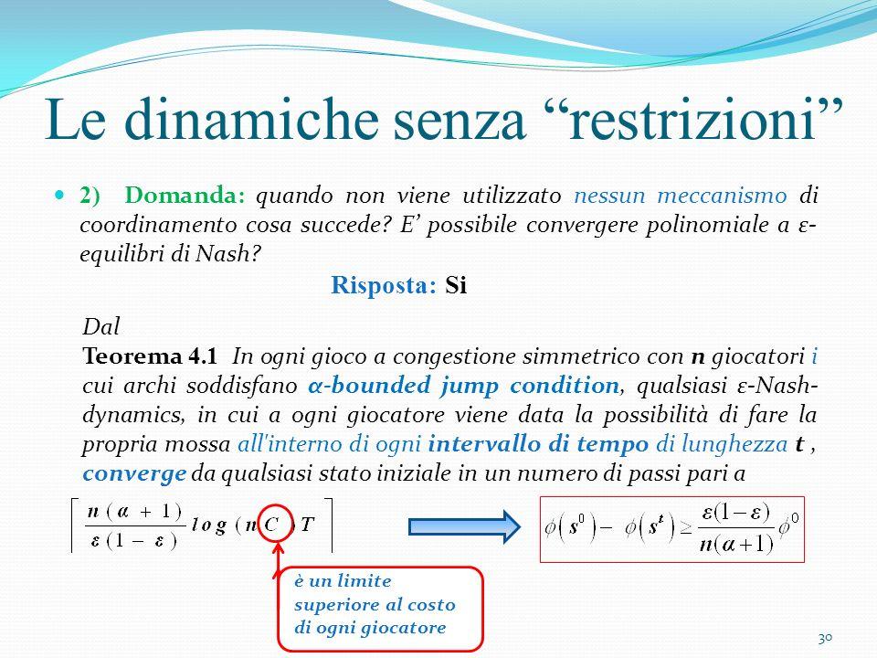 Le dinamiche senza restrizioni 2) Domanda: quando non viene utilizzato nessun meccanismo di coordinamento cosa succede? E possibile convergere polinom