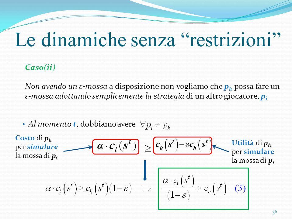 Le dinamiche senza restrizioni Caso(ii) Non avendo un ε-mossa a disposizione non vogliamo che p h possa fare un ε-mossa adottando semplicemente la str
