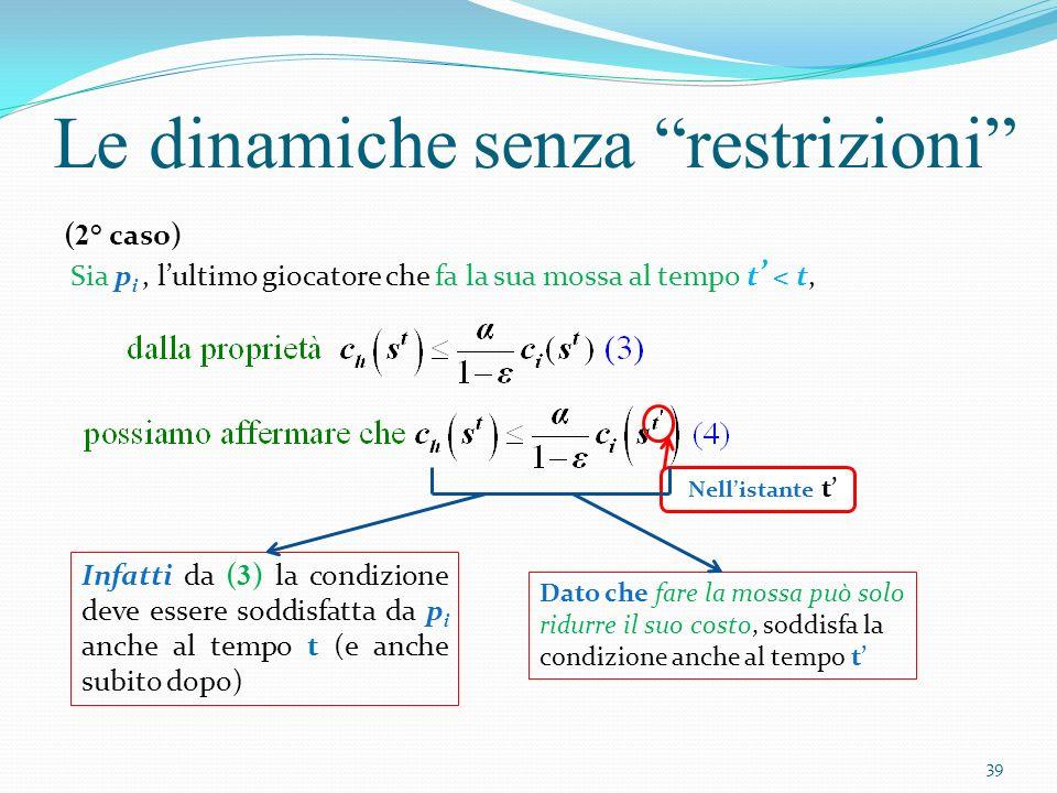 Le dinamiche senza restrizioni ( 2° caso) Sia p i, lultimo giocatore che fa la sua mossa al tempo t < t, Nellistante t Infatti da ( 3 ) la condizione