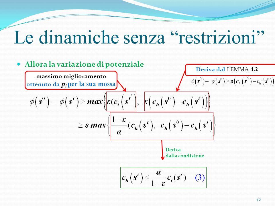 Allora la variazione di potenziale Le dinamiche senza restrizioni Deriva dalla condizione massimo miglioramento ottenuto da p i per la sua mossa Deriv
