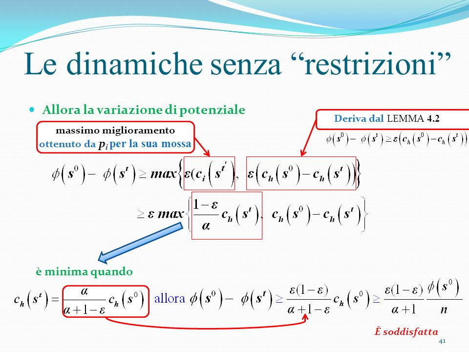 Le dinamiche senza restrizioni Allora la variazione di potenziale massimo miglioramento ottenuto da p i per la sua mossa è minima quando È soddisfatta