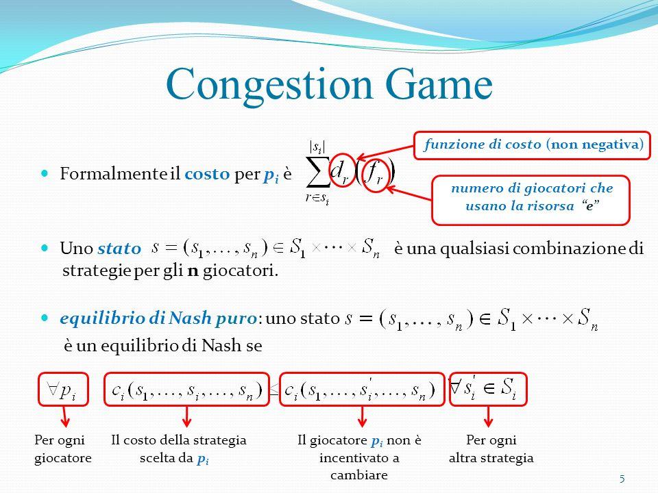 Formalmente il costo per p i è Uno stato è una qualsiasi combinazione di strategie per gli n giocatori. equilibrio di Nash puro: uno stato è un equili