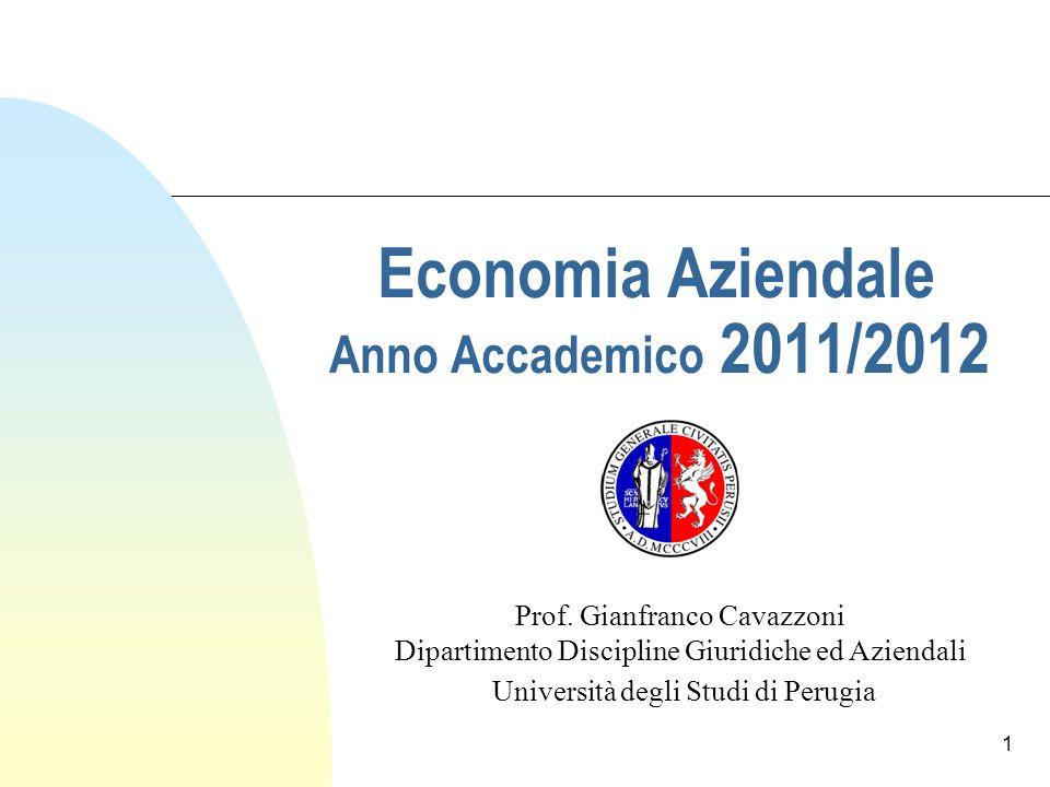 Economia Aziendale Anno Accademico 2011/2012 Prof.
