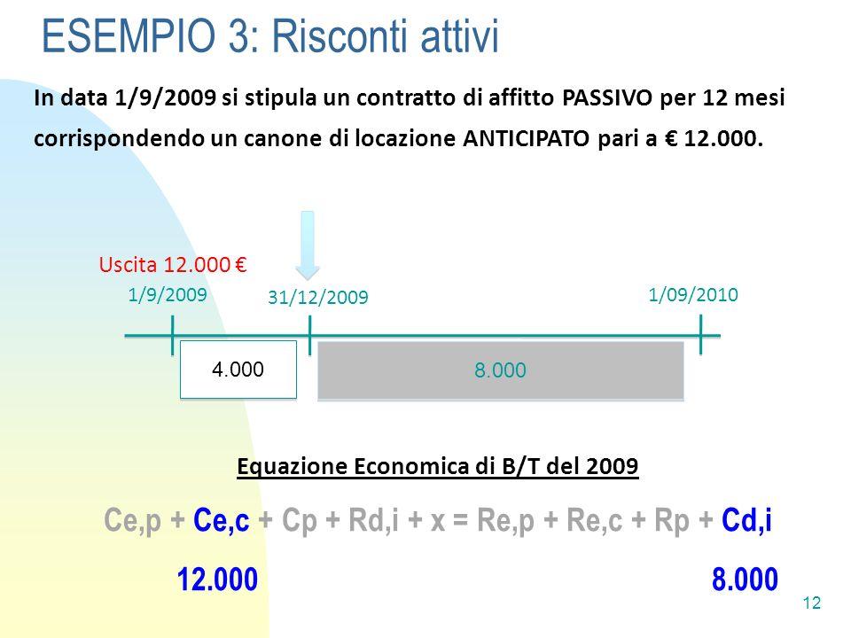 12 In data 1/9/2009 si stipula un contratto di affitto PASSIVO per 12 mesi corrispondendo un canone di locazione ANTICIPATO pari a 12.000.