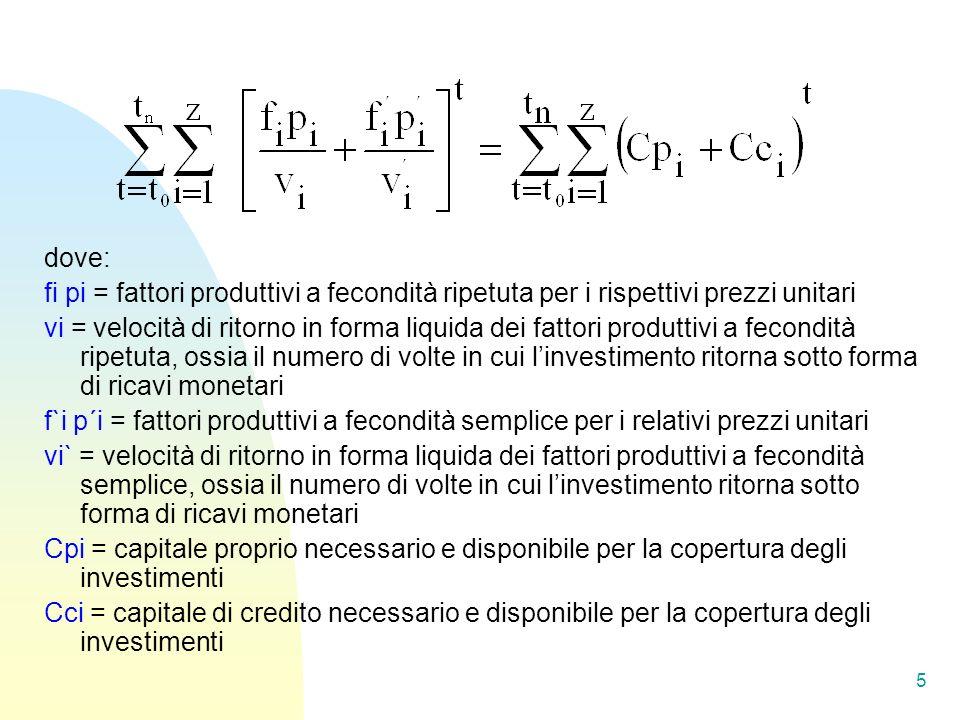 dove: fi pi = fattori produttivi a fecondità ripetuta per i rispettivi prezzi unitari vi = velocità di ritorno in forma liquida dei fattori produttivi a fecondità ripetuta, ossia il numero di volte in cui linvestimento ritorna sotto forma di ricavi monetari f`i p´i = fattori produttivi a fecondità semplice per i relativi prezzi unitari vi` = velocità di ritorno in forma liquida dei fattori produttivi a fecondità semplice, ossia il numero di volte in cui linvestimento ritorna sotto forma di ricavi monetari Cpi = capitale proprio necessario e disponibile per la copertura degli investimenti Cci = capitale di credito necessario e disponibile per la copertura degli investimenti 5