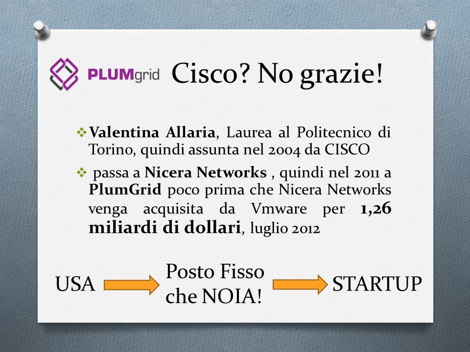 Cisco? No grazie! Valentina Allaria, Laurea al Politecnico di Torino, quindi assunta nel 2004 da CISCO passa a Nicera Networks, quindi nel 2011 a Plum