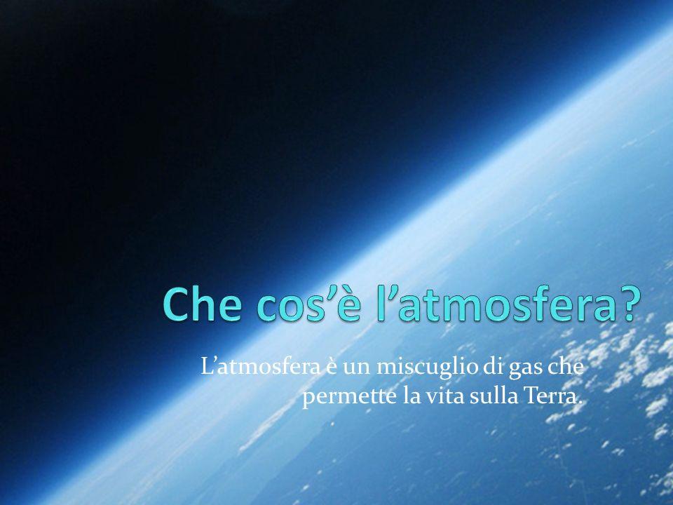 Latmosfera è un miscuglio di gas che permette la vita sulla Terra.