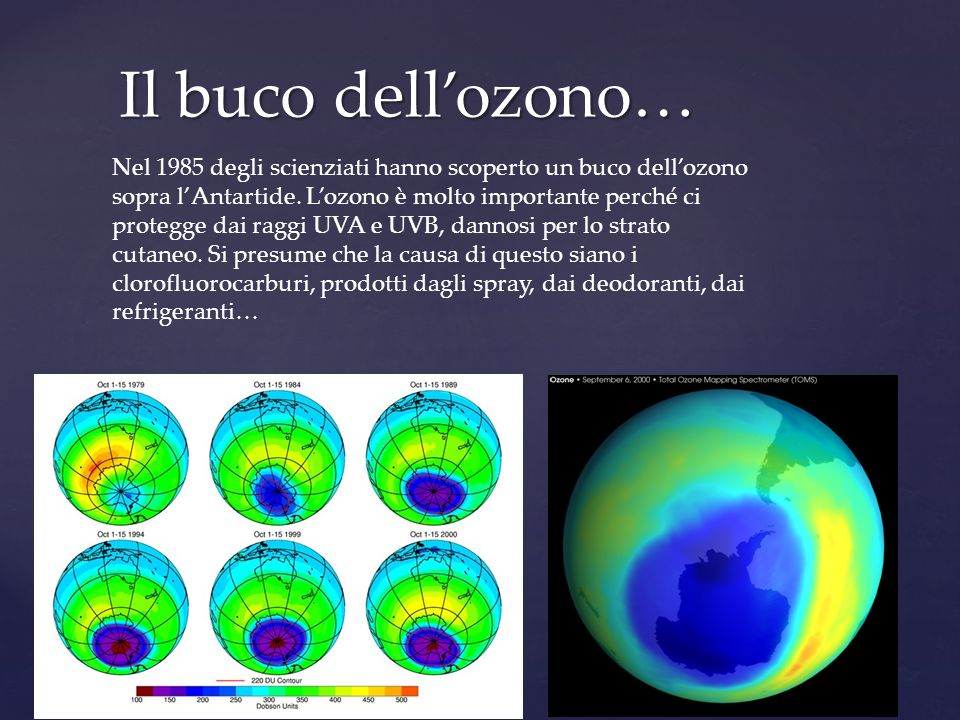 Il buco dellozono… Nel 1985 degli scienziati hanno scoperto un buco dellozono sopra lAntartide. Lozono è molto importante perché ci protegge dai raggi