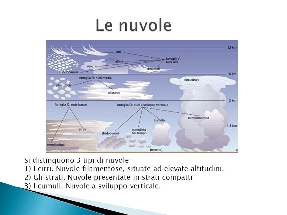Si distinguono 3 tipi di nuvole: 1) I cirri. Nuvole filamentose, situate ad elevate altitudini. 2) Gli strati. Nuvole presentate in strati compatti 3)