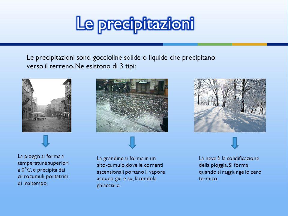 Le precipitazioni sono goccioline solide o liquide che precipitano verso il terreno. Ne esistono di 3 tipi: La pioggia si forma a temperature superior