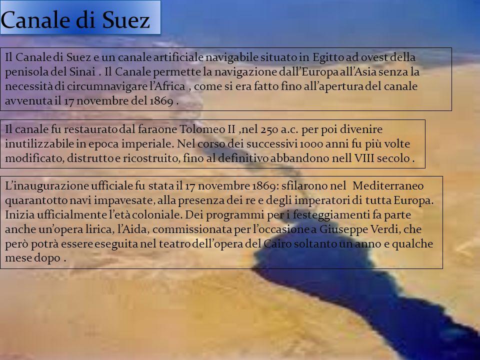 Canale di Suez Il Canale di Suez e un canale artificiale navigabile situato in Egitto ad ovest della penisola del Sinai. Il Canale permette la navigaz