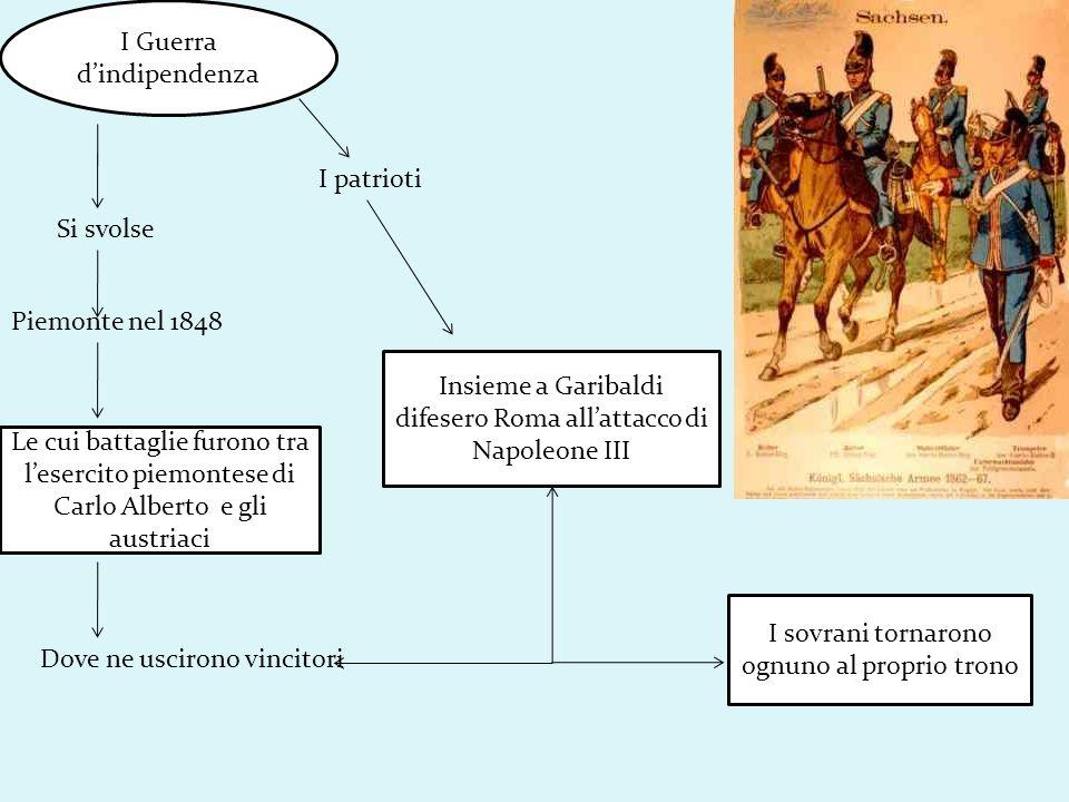 I Guerra dindipendenza Si svolse Piemonte nel 1848 Le cui battaglie furono tra lesercito piemontese di Carlo Alberto e gli austriaci Dove ne uscirono