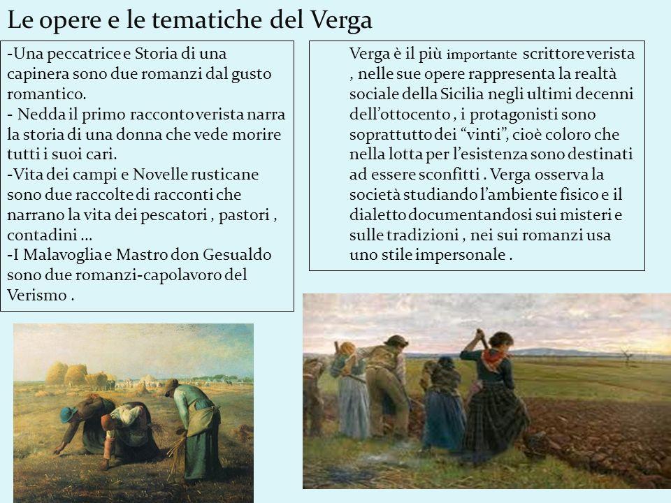 Verga è il più importante scrittore verista, nelle sue opere rappresenta la realtà sociale della Sicilia negli ultimi decenni dellottocento, i protago