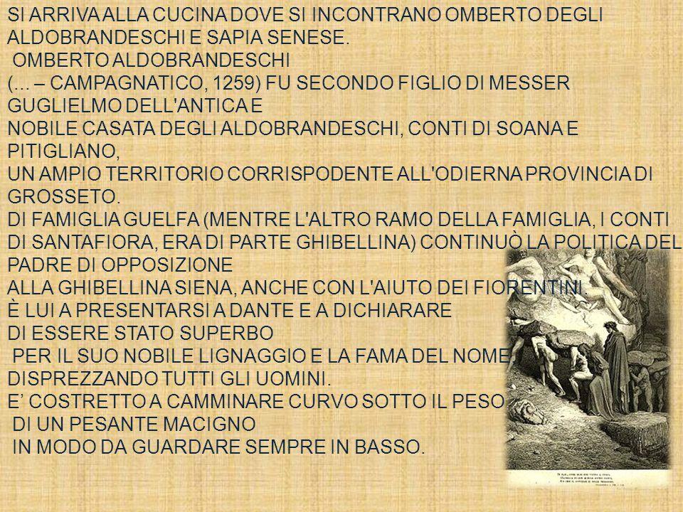 SI ARRIVA ALLA CUCINA DOVE SI INCONTRANO OMBERTO DEGLI ALDOBRANDESCHI E SAPIA SENESE. OMBERTO ALDOBRANDESCHI (... – CAMPAGNATICO, 1259) FU SECONDO FIG