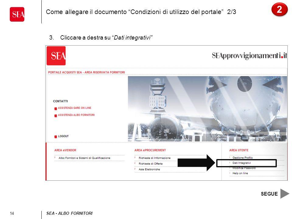 14SEA - ALBO FORNITORI Come allegare il documento Condizioni di utilizzo del portale 2/3 3.Cliccare a destra su Dati integrativi 2 2 SEGUE