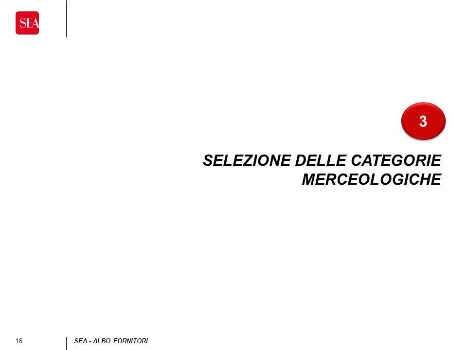 16SEA - ALBO FORNITORI SELEZIONE DELLE CATEGORIE MERCEOLOGICHE 3 3