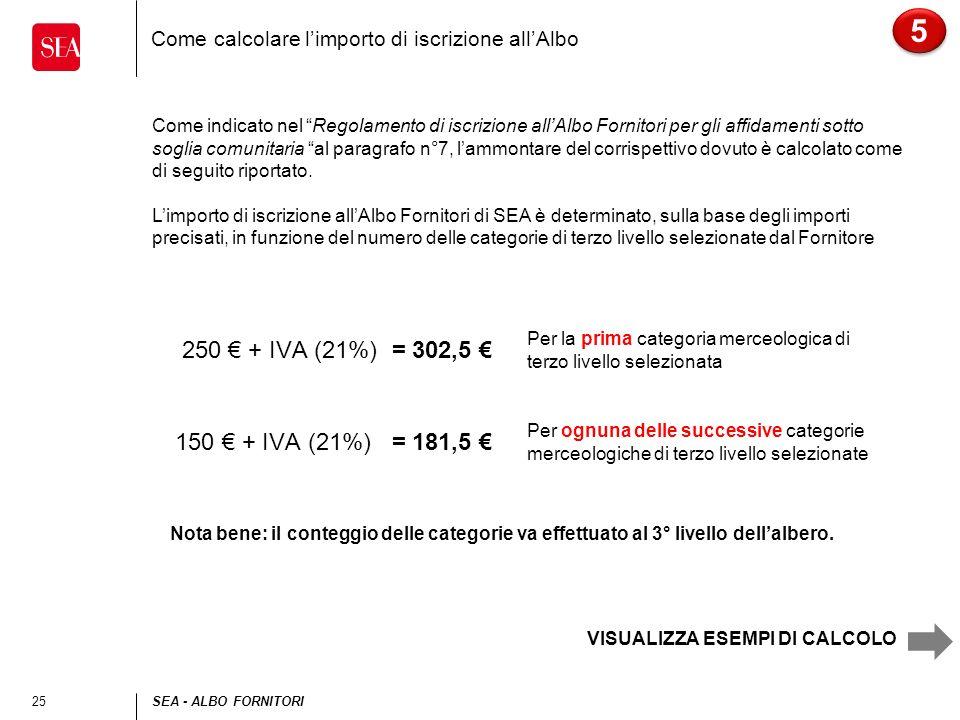 25SEA - ALBO FORNITORI Come calcolare limporto di iscrizione allAlbo 5 5 Come indicato nel Regolamento di iscrizione allAlbo Fornitori per gli affidam