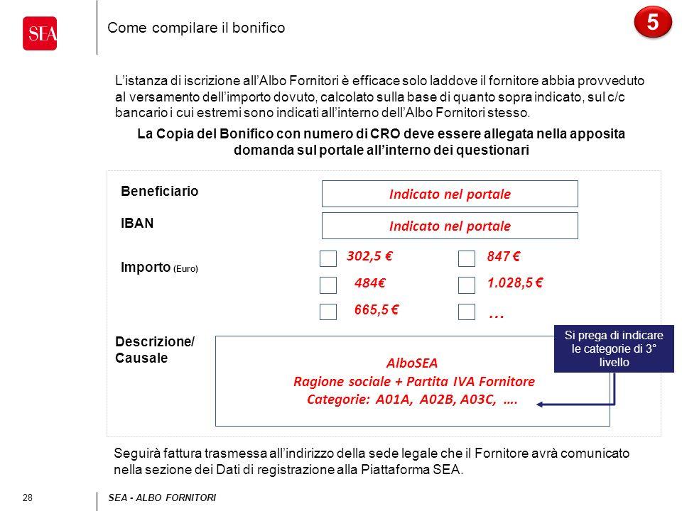 28SEA - ALBO FORNITORI Come compilare il bonifico 5 5 Listanza di iscrizione allAlbo Fornitori è efficace solo laddove il fornitore abbia provveduto a
