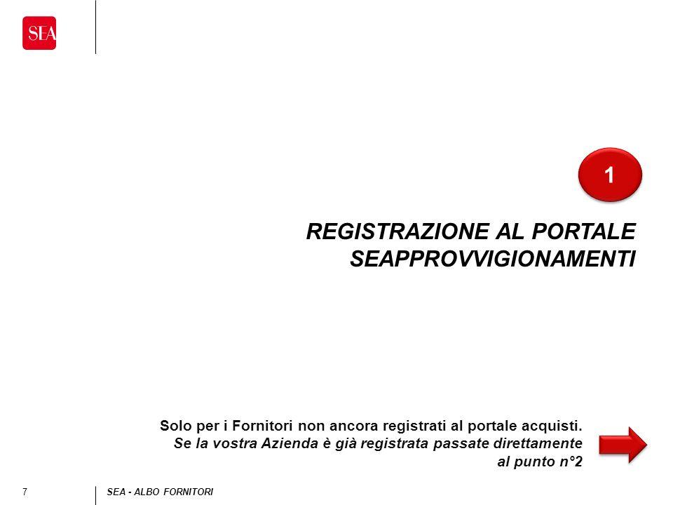 7SEA - ALBO FORNITORI REGISTRAZIONE AL PORTALE SEAPPROVVIGIONAMENTI 1 1 Solo per i Fornitori non ancora registrati al portale acquisti.