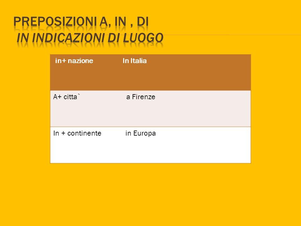 in+ nazione In Italia A+ citta` a Firenze In + continente in Europa