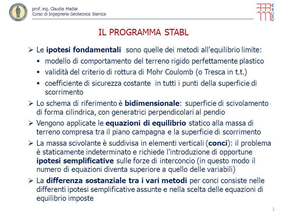 22 IL PROGRAMMA STABL – ESEMPIO (file di output) prof.