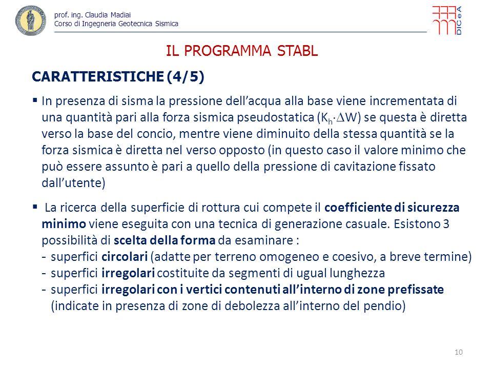 IL PROGRAMMA STABL CARATTERISTICHE (4/5) In presenza di sisma la pressione dellacqua alla base viene incrementata di una quantità pari alla forza sism