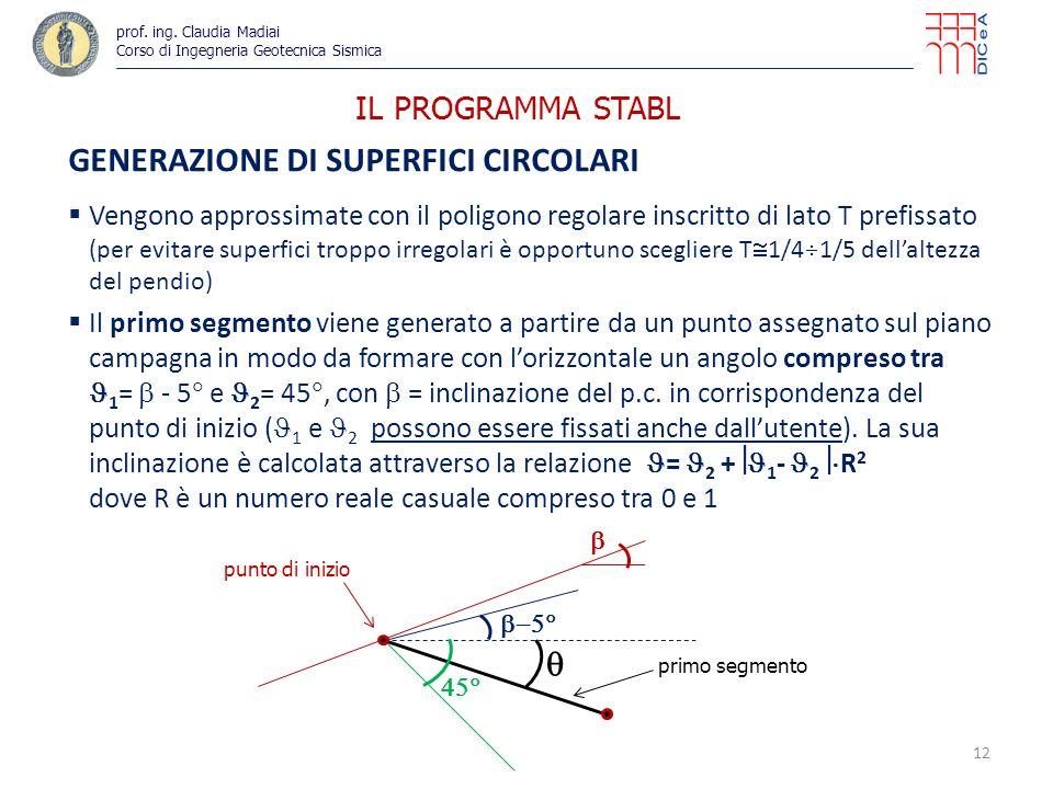 IL PROGRAMMA STABL GENERAZIONE DI SUPERFICI CIRCOLARI Vengono approssimate con il poligono regolare inscritto di lato T prefissato (per evitare superfici troppo irregolari è opportuno scegliere T 1/4 1/5 dellaltezza del pendio) Il primo segmento viene generato a partire da un punto assegnato sul piano campagna in modo da formare con lorizzontale un angolo compreso tra 1 = - 5 e 2 = 45, con = inclinazione del p.c.