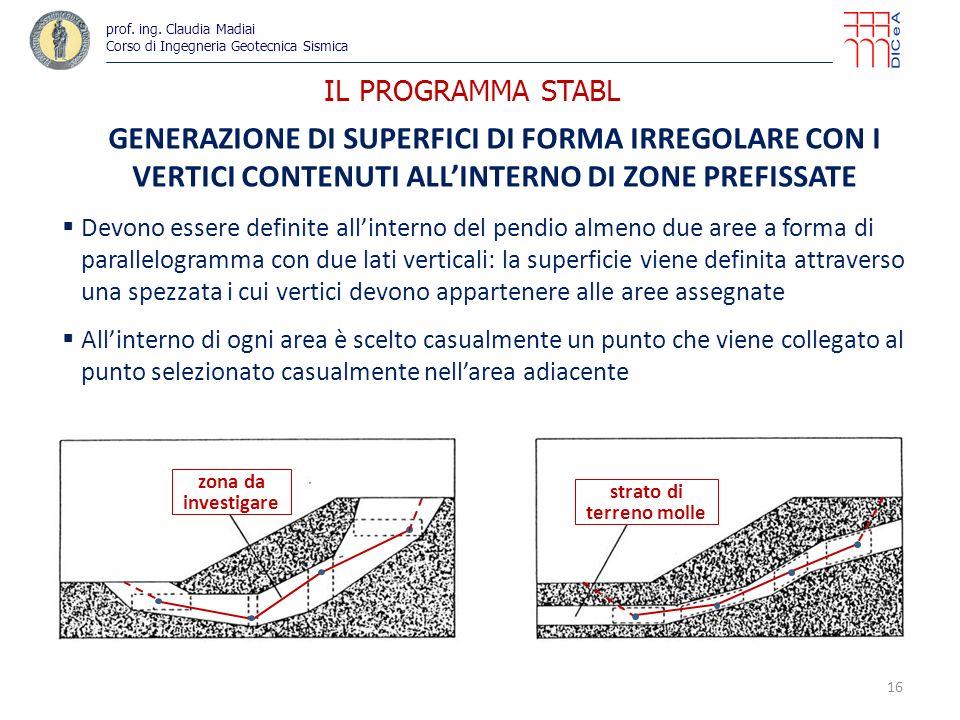 IL PROGRAMMA STABL GENERAZIONE DI SUPERFICI DI FORMA IRREGOLARE CON I VERTICI CONTENUTI ALLINTERNO DI ZONE PREFISSATE Devono essere definite allinterno del pendio almeno due aree a forma di parallelogramma con due lati verticali: la superficie viene definita attraverso una spezzata i cui vertici devono appartenere alle aree assegnate Allinterno di ogni area è scelto casualmente un punto che viene collegato al punto selezionato casualmente nellarea adiacente 16 zona da investigare strato di terreno molle prof.
