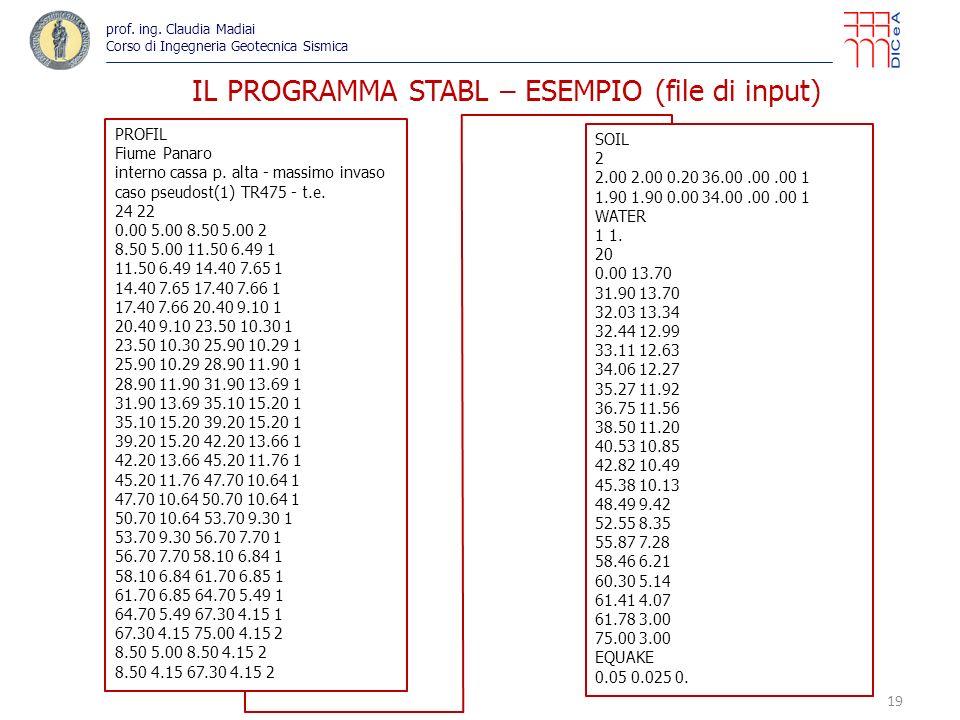 19 IL PROGRAMMA STABL – ESEMPIO (file di input) PROFIL Fiume Panaro interno cassa p. alta - massimo invaso caso pseudost(1) TR475 - t.e. 24 22 0.00 5.