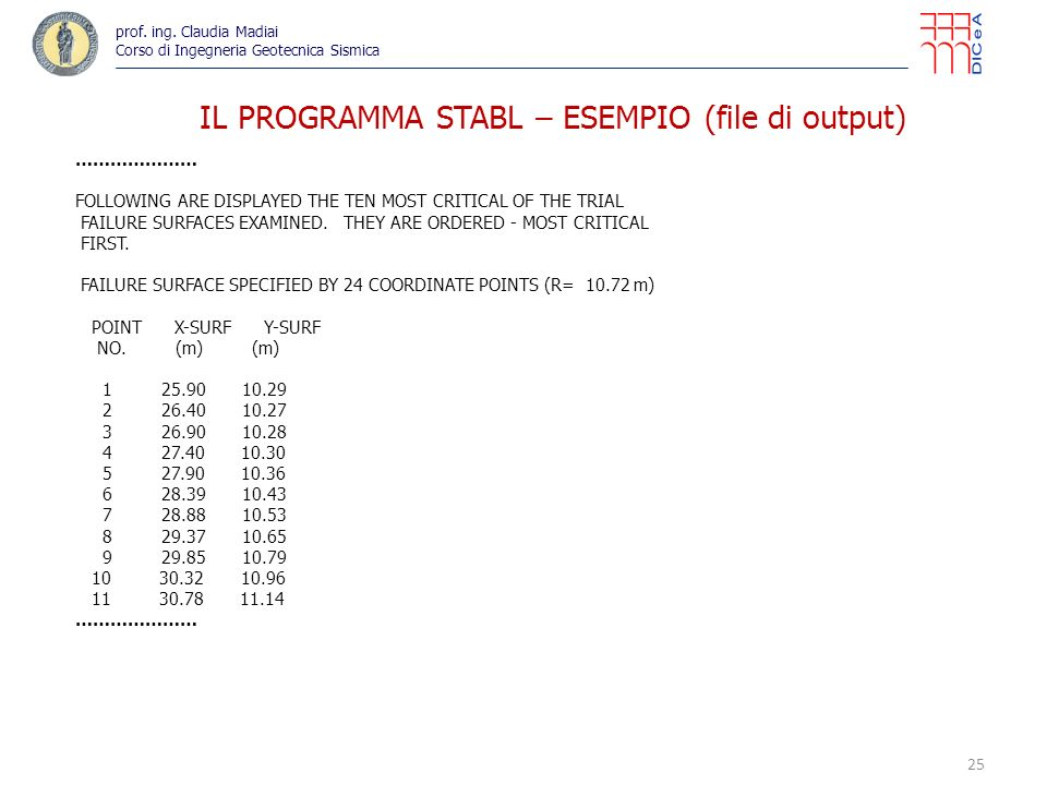 25 IL PROGRAMMA STABL – ESEMPIO (file di output) prof. ing. Claudia Madiai Corso di Ingegneria Geotecnica Sismica ………………… FOLLOWING ARE DISPLAYED THE