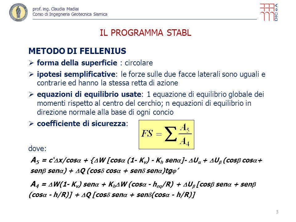 IL PROGRAMMA STABL METODO DI FELLENIUS forma della superficie : circolare ipotesi semplificative: le forze sulle due facce laterali sono uguali e contrarie ed hanno la stessa retta di azione equazioni di equilibrio usate: 1 equazione di equilibrio globale dei momenti rispetto al centro del cerchio; n equazioni di equilibrio in direzione normale alla base di ogni concio coefficiente di sicurezza: dove: A 5 = c x/cos + { W [cos (1- K v ) - K h sen ]- U + U (cos cos + sen sen ) + Q (cos cos + sen sen )tg A 4 = W(1- K v ) sen + K h W (cos - h eq /R) + U [cos sen + sen (cos - h/R)] + Q [cos sen + sen (cos - h/R)] 3 prof.