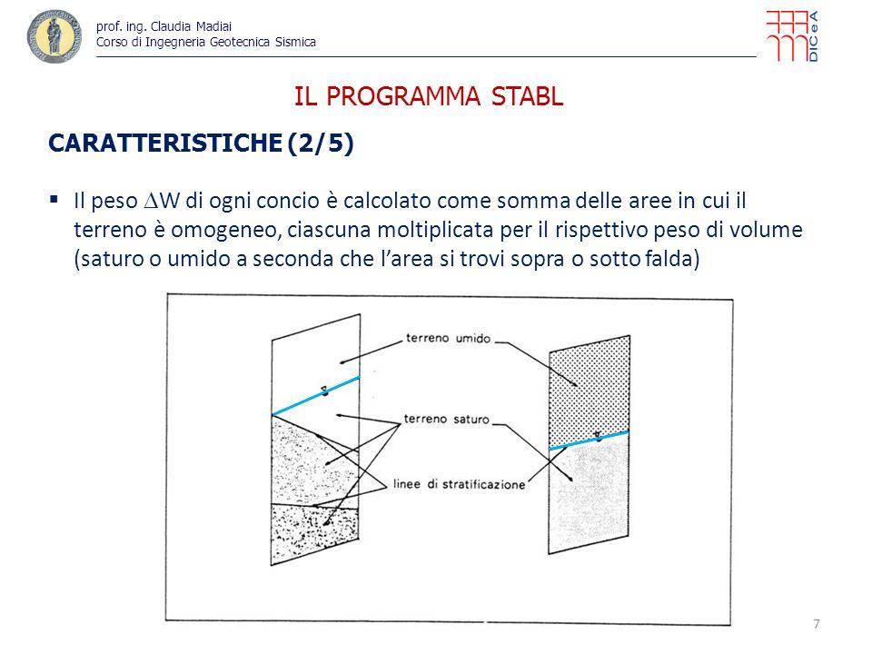 IL PROGRAMMA STABL CARATTERISTICHE (3/5) il carico idraulico U sulla base superiore del concio è calcolato come prodotto della lunghezza della base superiore per il valore della pressione idrostatica calcolato nel punto medio il carico idraulico U sulla base inferiore del concio è calcolato come prodotto della lunghezza della base inferiore per il valore della pressione interstiziale in corrispondenza del punto medio della base, che può essere valutato in 3 diversi modi: come pressione idrostatica (peso specifico dellacqua per distanza tra linea di falda e punto medio della base); in presenza di filtrazione tale valore è conservativo come prodotto r u vo (con r u = coefficiente di pressione interstiziale assegnato dallutente ; vo = pressione litostatica totale nel punto medio della base) come valore di pressione costante assegnato dallutente (es.