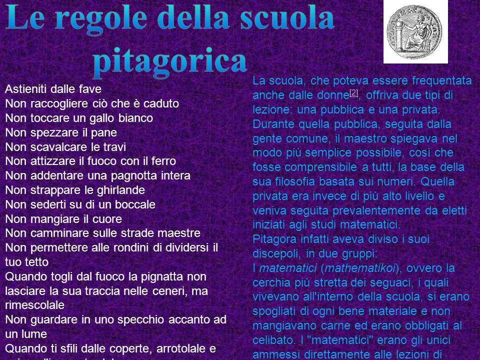 La scuola pitagorica, appartenente al periodo presocratico, fu fondata da Pitagora a Crotone intorno al 530 a.C., sull'esempio delle comunità orfiche