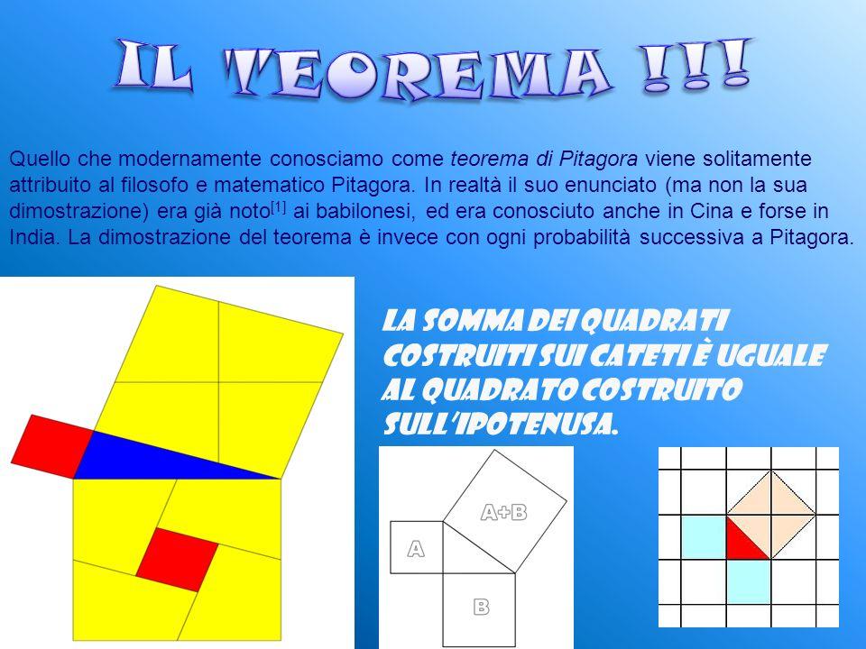 Quello che modernamente conosciamo come teorema di Pitagora viene solitamente attribuito al filosofo e matematico Pitagora.