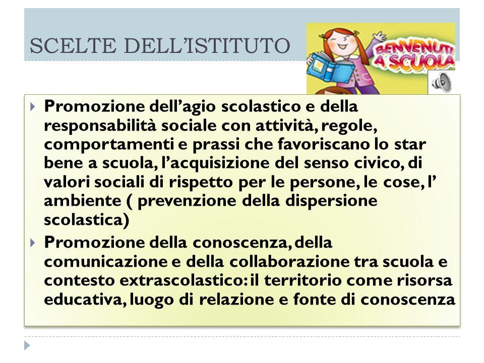 SCELTE DELLISTITUTO Promozione dellagio scolastico e della responsabilità sociale con attività, regole, comportamenti e prassi che favoriscano lo star