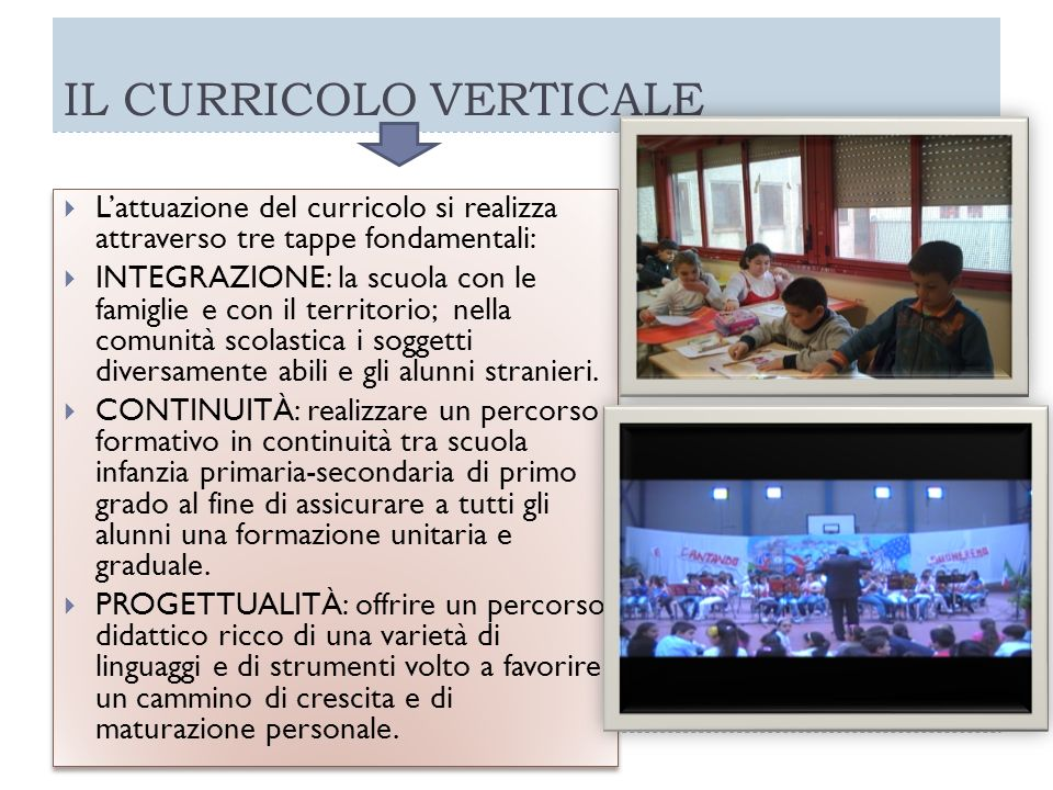 IL CURRICOLO VERTICALE Lattuazione del curricolo si realizza attraverso tre tappe fondamentali: INTEGRAZIONE: la scuola con le famiglie e con il terri