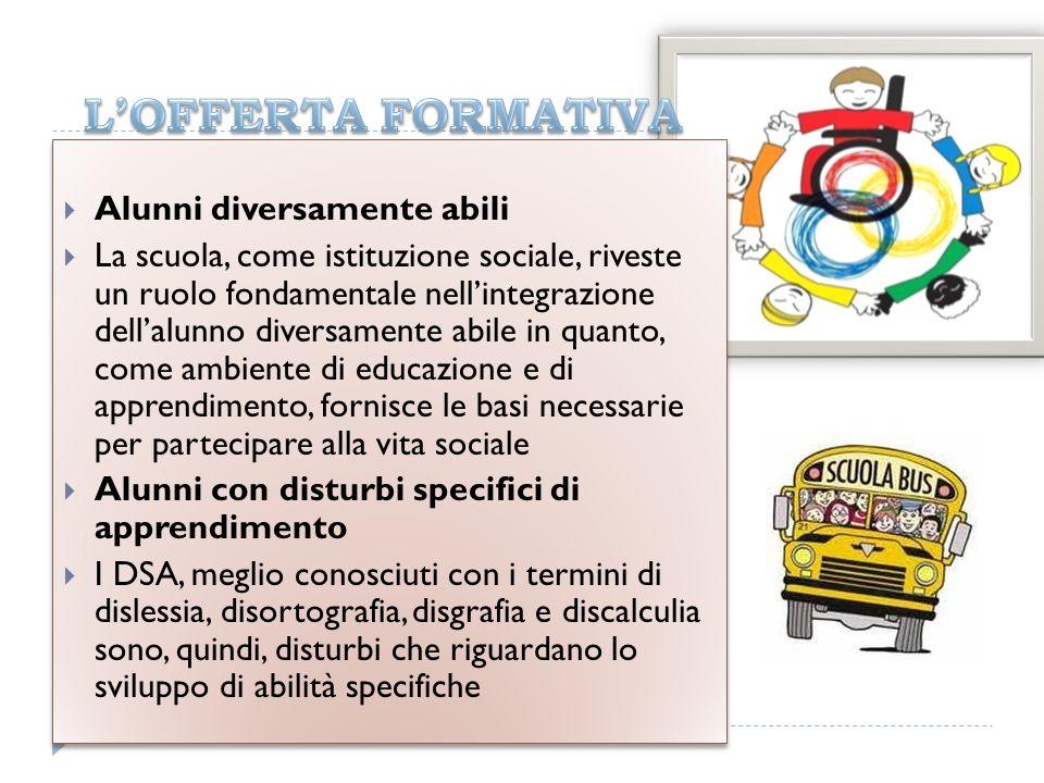 Alunni diversamente abili La scuola, come istituzione sociale, riveste un ruolo fondamentale nellintegrazione dellalunno diversamente abile in quanto,