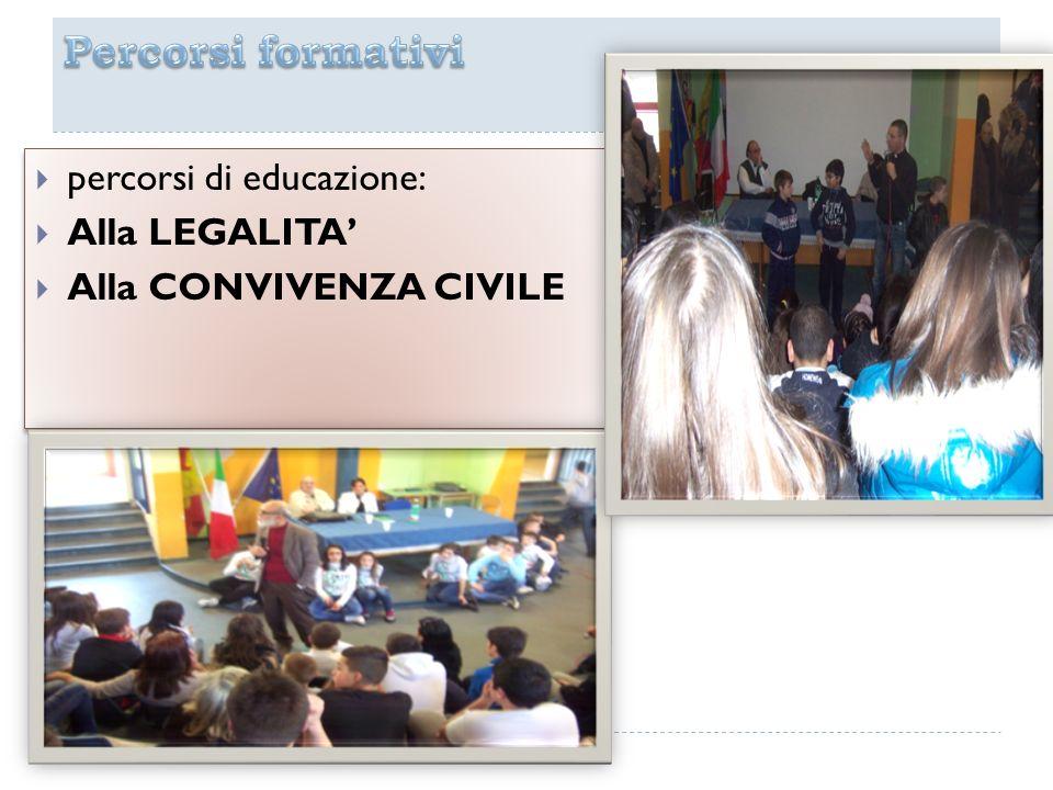 percorsi di educazione: Alla LEGALITA Alla CONVIVENZA CIVILE percorsi di educazione: Alla LEGALITA Alla CONVIVENZA CIVILE