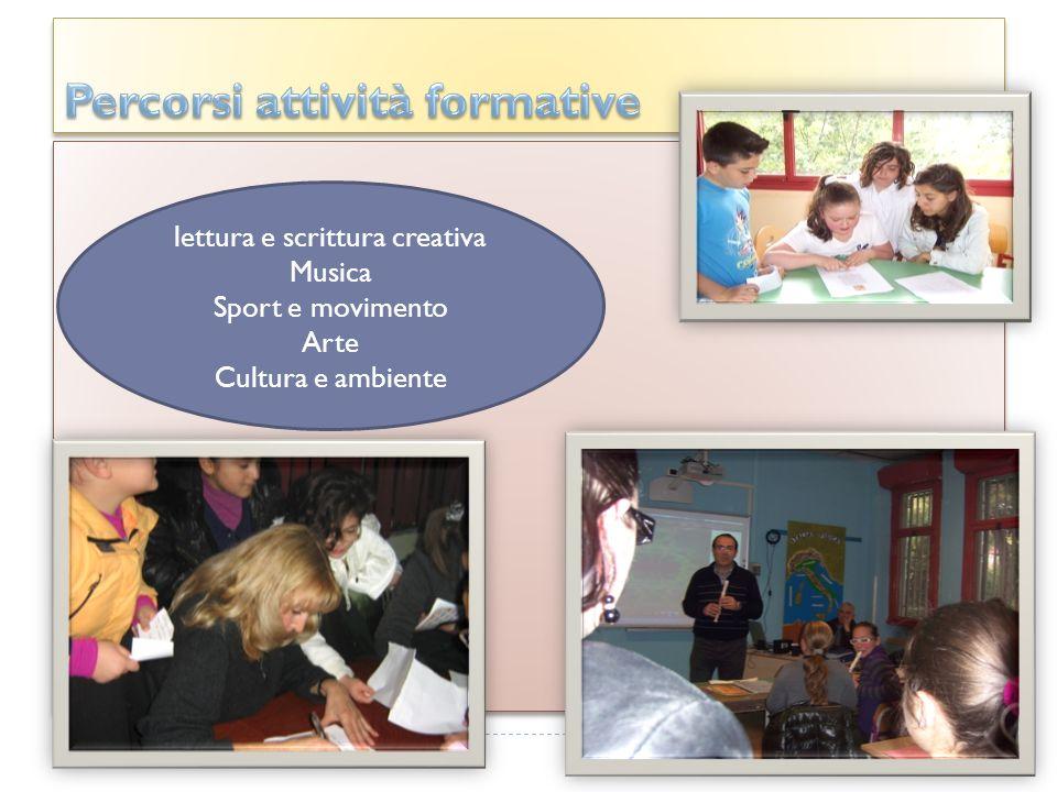 lettura e scrittura creativa Musica Sport e movimento Arte Cultura e ambiente