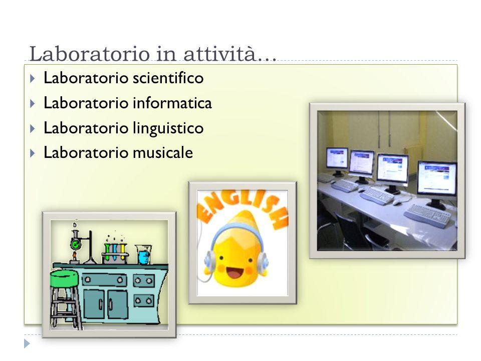Laboratorio in attività… FESR06_POR_CAMPANIA-2011-291 Laboratorio scientifico Laboratorio informatica Laboratorio linguistico Laboratorio musicale Lab