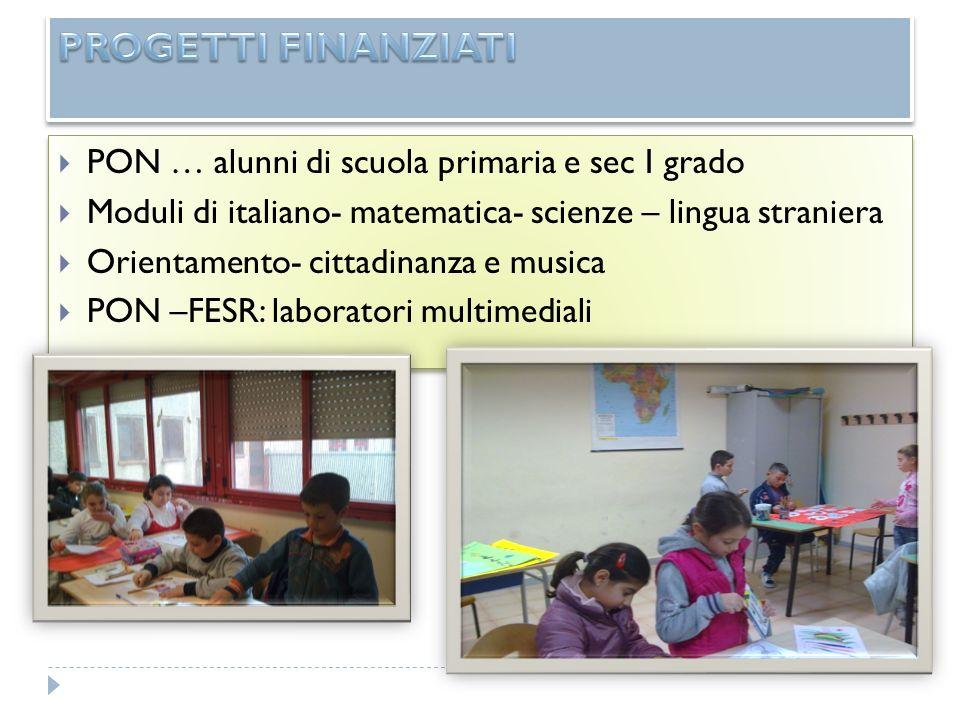 PON … alunni di scuola primaria e sec I grado Moduli di italiano- matematica- scienze – lingua straniera Orientamento- cittadinanza e musica PON –FESR