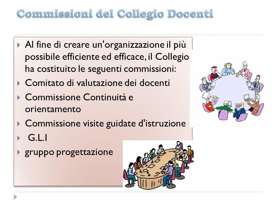 Al fine di creare un'organizzazione il più possibile efficiente ed efficace, il Collegio ha costituito le seguenti commissioni: Comitato di valutazion